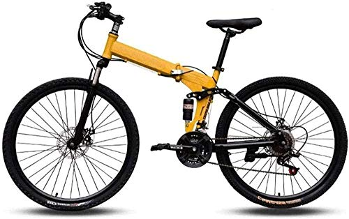 Bicicleta de montaña fácil de transportar, cuadro alto de acero al carbono, velocidad variable, doble absorción de golpes, bicicleta plegable B de 27 velocidades C de 21 velocidades.