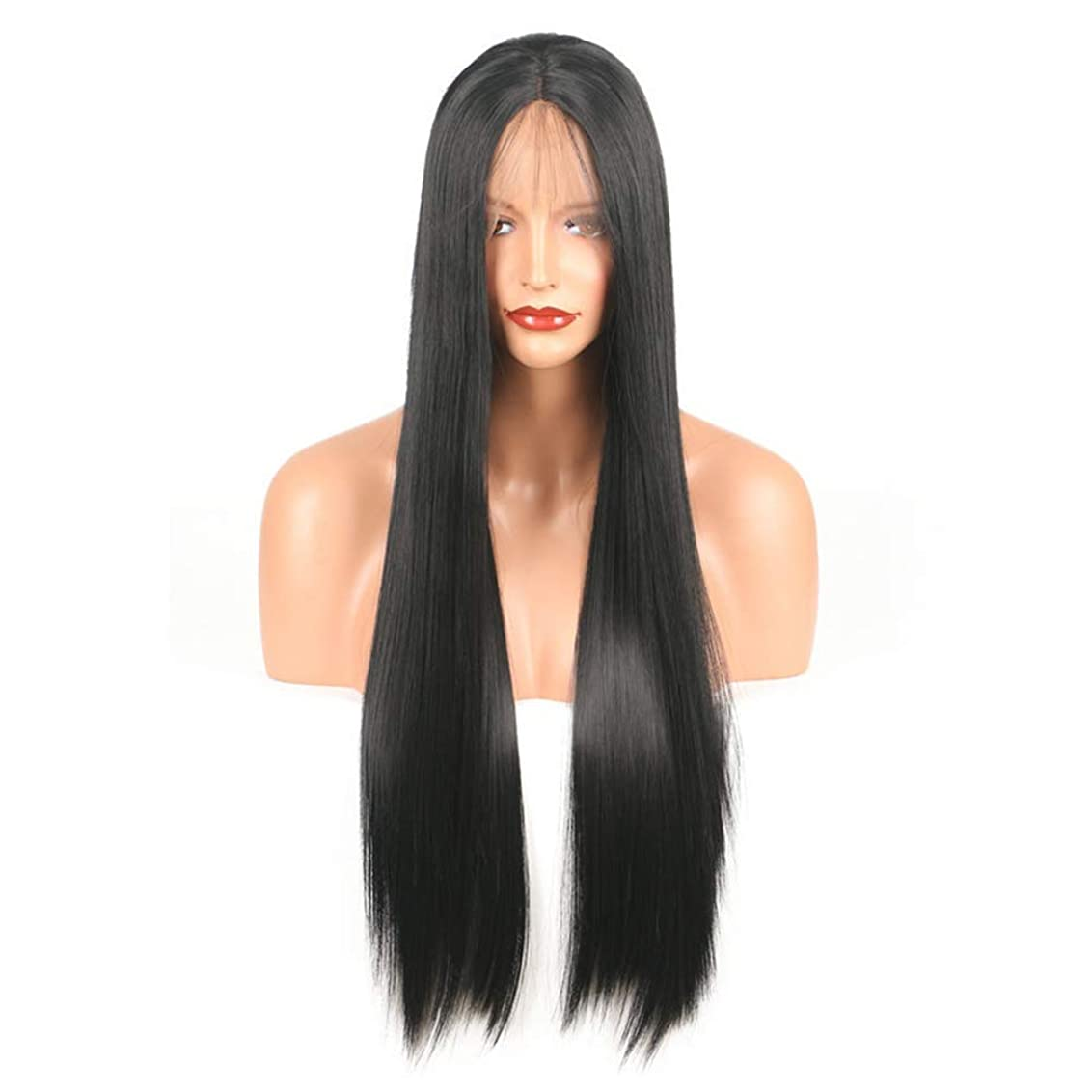 生物学失速痴漢BOBIDYEE レースフロントかつら斜め前髪アニメコスチュームロングストレートコスプレウィッグパーティーかつら耐熱合成髪のかつら用女性ファッションかつら (サイズ : 18