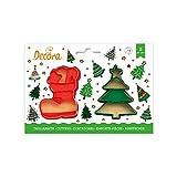 Decora 0255096 Set 2 Tagliapasta Albero Natale E Scarpone 8/6 X H 2,2 Cm In Pl