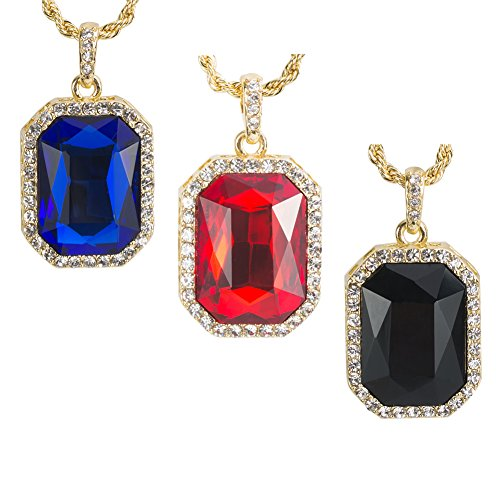 3 pcs 14K Gold Plated Hip Hop Men's Ruby Octagon Pendant Necklace - 3mm 24' Rope Chain Jewelry - Red,Black,Blue 3pcs By Cy-trendy