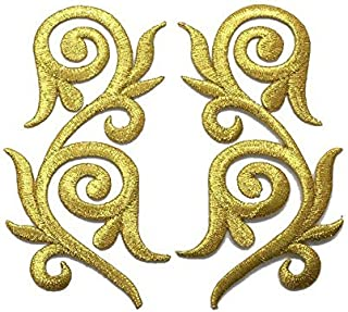 1 Pair Exquisite Flower Gold Lace Vintage Design Fashion DIY Applique Embroidered Sew Iron on Patch p#312