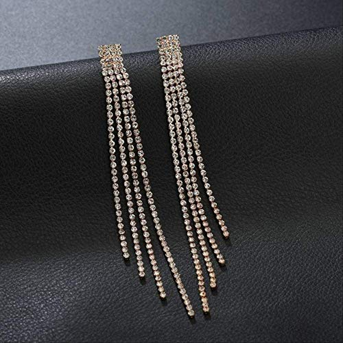 Oorbel bengelen vrouwen lange oorbellen met strass hangende grote statement oorbellen Trendy luxe kristallen bengelen oorbel sieradengoud
