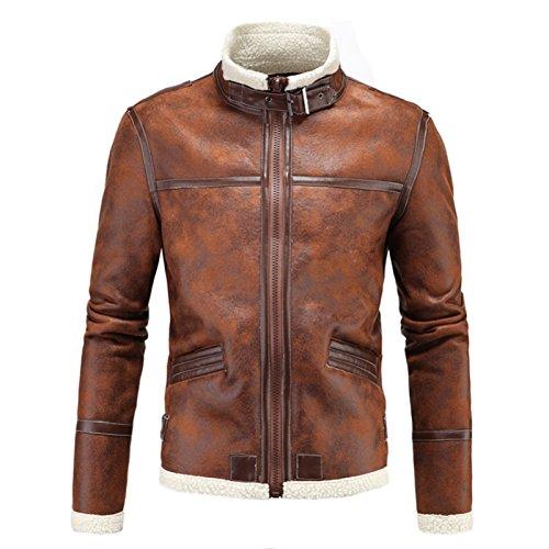 Elonglin Jaqueta masculina para motociclista de couro sintético vintage marrom, Marrom, 4XL