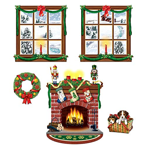 Beistle 5 Piece Printed Plastic Indoor Christmas Decorations Holiday Photo Booth Background, 15' - 49'
