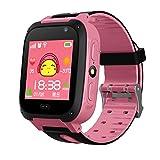 Reloj inteligente con podómetro y pantalla táctil impermeable con rastreador GPS, con cámara SIM, anti-pérdida, para regalo de cumpleaños de los niños, rosa