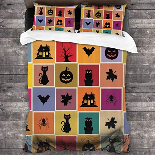 Duvet cover bedding Set,Bats Cats Owls Haunted Houses In Squraes Halloween Themed Darwing Art,3 Piece Set bedding with 2 pillowcases,Single(135 * 210cm)