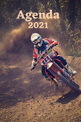 Agenda 2021 Moto: Agenda 2021 semainier, planificateur, objectifs, répertoire, carnet de rendez-vous, idée cadeaux, moto, course, cross, sport, enduro