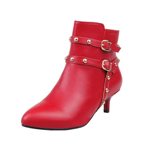 7b1dd50b8ab1 Agodor Womens Kitten Heel Pointed Toe Ankle Boots with Rivets Buckle  Elegant Warm Shoes Black