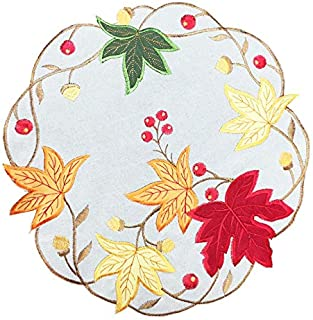 "GRANDDECO Fall Harvest Placemat 14"" Set of 4, Applique Cutwork Embroidered Maple Leaves Dresser Scarf for Home Dining Holi..."