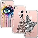[3 Stück] iPhone 7 Hülle, iPhone 8 Hülle, Blossom01 Cute Funny Kreative Cartoon Transparent Silikon Bumper für iPhone 7 / 8 - Eye und Butterfly Mädchen und Katze