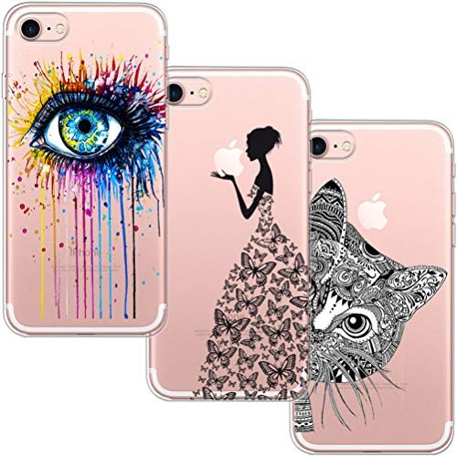 [3 Pack] Funda Para iPhone 7, Funda iPhone 8, Funda de Silicona Suave Blossom01 Ultra Suave Funda de Silicona Para TPU con Dibujo Animado Lindo Para iPhone 7 / 8 de Apple - Eye & Butterfly Girl & Cat