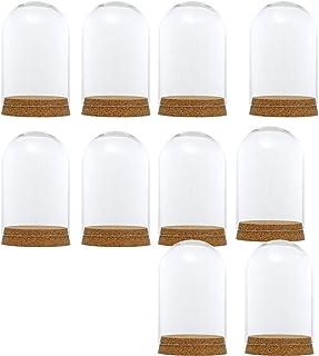 SM SunniMix 10pcs Cúpula de Vidrio Campana de Cristal con Base Madera Florero Mesa Hogar Boda Decoración