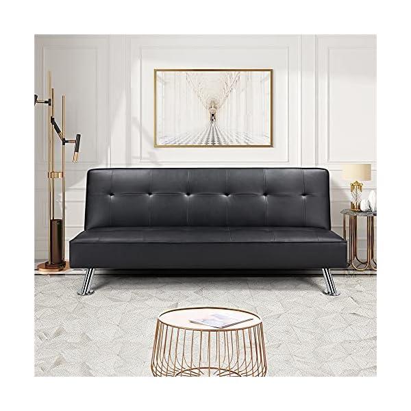 Kovalenthor Convertible Black Faux Leather Futon Sofa Bed 2
