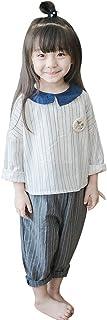 HIMOE ガウチョパンツ 白 子供セットアップ シャツ 長袖 ワイドハーフパンツ ノースリーブ上下セット 子どもセットアップ ホワイトシャツ Tシャツ キュロットパンツ 女の子 お出かけ 入園式 入学式 普段着 かわいい 春 夏 秋