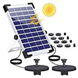 AISITIN 5.5W Solar Fountain Pump Built-in Double 1500mAh Battery Backup Solar Water Double Pump Floating Fountain with 12 Nozzles for Bird Bath Fish Tank Pond or Garden Decoration Solar Aerator Pump