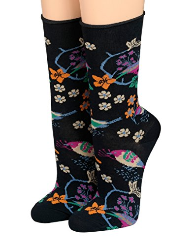 CRÖNERT Socken Longsocks mit Rollsaum Design Vögel & Blüten 18902 (blau, 35-38)