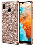 Coolden für Huawei Y6 2019 Hülle Glitzer Handyhülle Slim Bling Sparkle Hülle für Mädchen Superdünn Stoßfest Bumper Schutzhülle für Huawei Y6 2019/Honor 8A (Rose Gold)