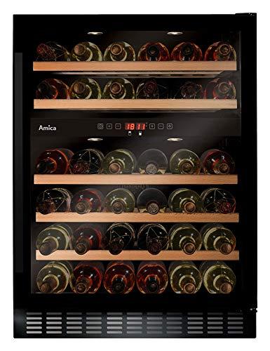 Amica Weintemperierschrank schwarz für 45 Flaschen á 0,75L mit 2 Temperaturzonen á 5-20°C WK 341 110 S