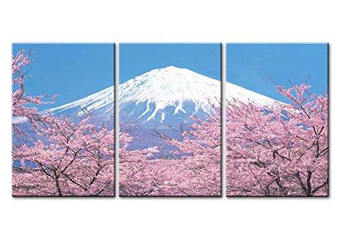 WTD - Lienzo decorativo para pared (3 piezas), diseño de flores de cerezo Fuji