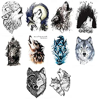 Ooopsiun 10 Sheets Large Wolf Temporary Tattoos For Men Kids Cool Waterproof Body Fake Tattoo Sticker for Men Women 3D Wolf Large Arm Tattoos