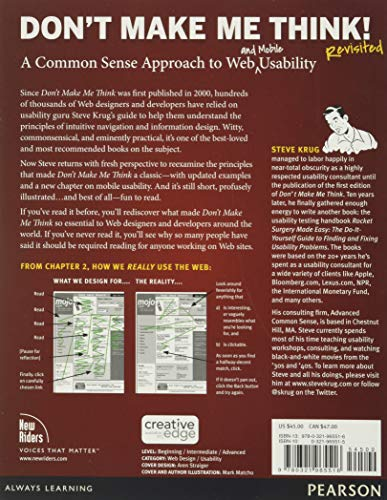Don't Make Me Think, Revisited: A Common Sense Approach to Web Usability (Voices That Matter)