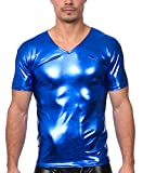 Gary Majdell Men's Liquid Shiny Metallic V-Neck Short Sleeve T-Shirt for Nightclub (Liquid Blue, Large)