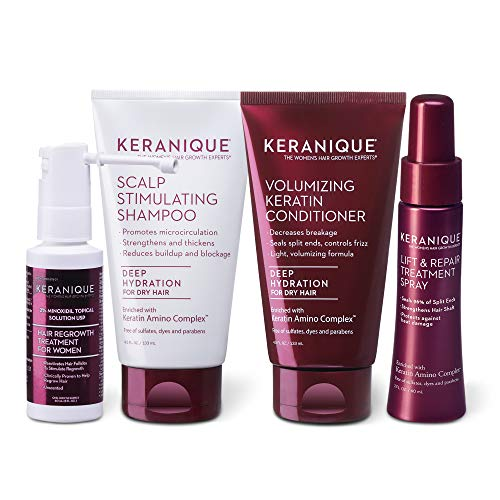 Keranique Hair Regrowth System – 30 Days - Keratin Amino Complex - Free of Sulfates, Dyes and Parabens, Includes Shampoo and Conditioner, Minoxidil and Lift and Repair Spray for Dry Thinning Hair