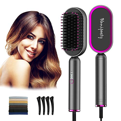Hair Straightener Brush,Homipooty Heat Straightening Brush,2 in 1 Hair Styling Tools with Iron Negative Technology for All Hair Types,Fast Ceramic Heating,Anti-Scald,Auto-Off,for Salon,Home,Travel