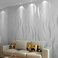 Papel tapiz 3D 10M Wave Rollos de papel tapiz de lujo flocado para el hogar Dormitorio Sala de estar Papel tapiz Decoración de paredes Papel pintado minimalista no tejido - Plata y gris