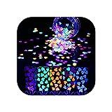 Uñas postizas decorativas | 1 caja de lentejuelas de uñas lentejuelas oro rosa en polvo Paillette DIY decoración de uñas de arte-4-