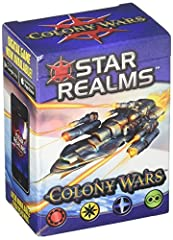 Colony Wars is a stand-alone expansion for the hit Star Realms deckbuilding game. Colony Wars can be played as a stand-alone 2 player game or combined with the original Star Realms Deckbuilding Game to support an additional 1-2 players. This box cont...