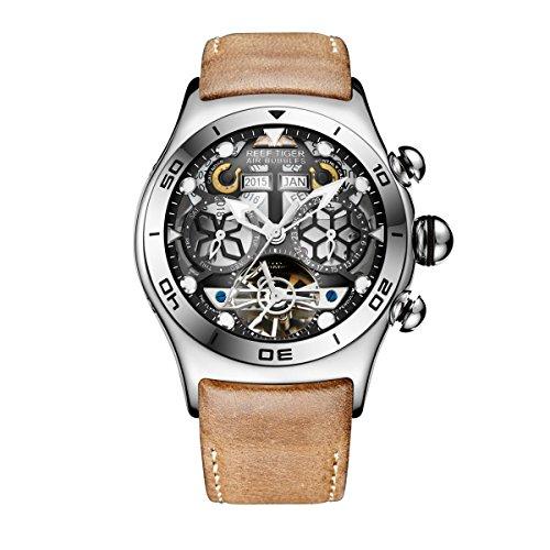 REEF TIGER Herren Uhr analog Automatik mit Leder Armband RGA703-YBS