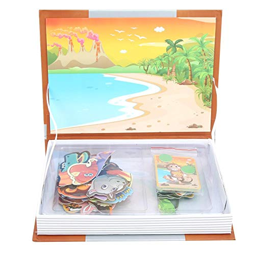 Yencoly Livro de quebra-cabeça magnético, jogo educativo de mistura e combinação de animais, aprendizagem pré-escolar para meninos e meninas de 4 a 6 anos (tema animal)