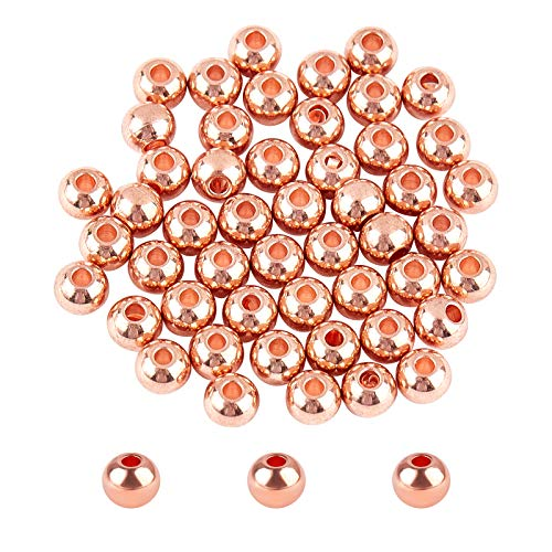 UNICRAFTALE Alrededor de 50 Pieza de Cuentas Pequeñas de Oro Rosa de 1 mm Cuentas Espaciadoras Redondas A Granel de 4mm de Diámetro Cuentas de Acero Inoxidable Cuentas Sueltas para Hacer Joyas