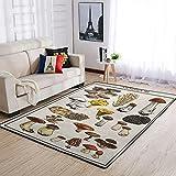 wbinshey Alfombras de champiñón súper suave para dormitorio decoración del hogar Alfombras setas blancas 50 x 80 cm