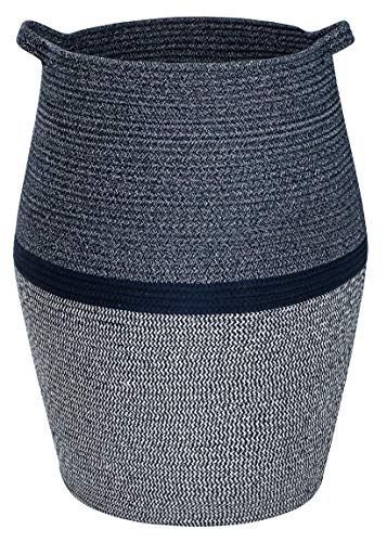 """Cotton Laundry Rope Hamper for Bedrooms, Living Room - Large Woven Storage Basket for Blanket, Clothes Organizing - Decorative Navy Blue Tall 25.6"""" Baskets with Soft Handles - Folded Into Small Bag"""