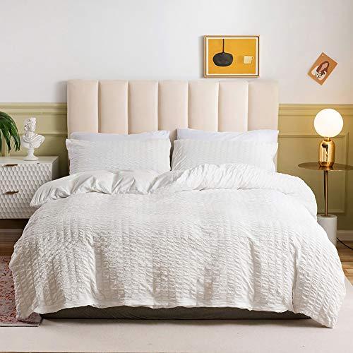Seersucker Bedding - Juego de funda de edredón para cama doble con 1/2 fundas de almohada, cierre de cremallera, microfibra suave, color blanco, 135 x 200