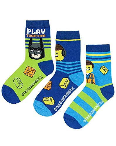 vanilla &ergro& Lego Movie 2 Assorted 3 Pack Kids Blue Socks