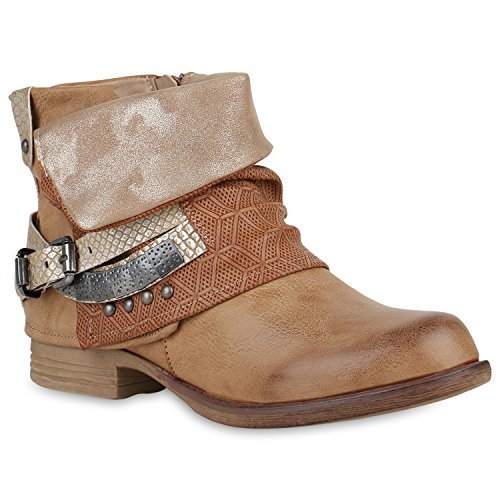 Damen Stiefeletten Zipper Biker Boots Leder-Optik Schnallen Knöchelhohe Stiefel Schuhe 149459 Hellbraun Schnalle 36 Flandell