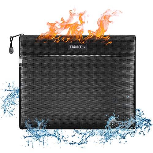 BluePower Bolsa resistente al fuego resistente al agua, bolsa ignífuga plegable apta para documentos, efectivo, factura, iPad, batería de carga, teléfono móvil, pasaporte, licencia y objetos de valor