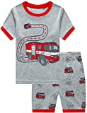 Little Boys Pajamas Shorts Set for Toddler Clothes 100% Cotton Fire Truck Sleepwear Short Sleeve 2 Piece Pjs Sets Kids Summer Clothes Sets Size 3T