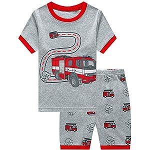 Toddler Boys Pajamas Summer Short Sets Fire Truck Cotton 2 Pieces Kids Pjs Excavator Dinosaur Sleepwear Clothes Set Size 1-7T