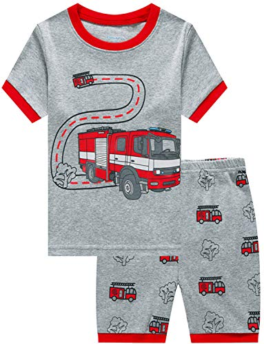 Little Boys Pajamas Shorts Set for Toddler Summer Clothes Fire Truck Sleepwear 100% Cotton 2 Piece Kids Pjs Size 5T