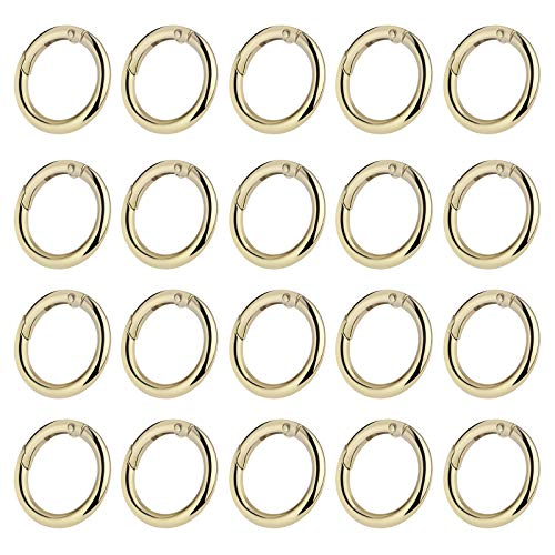20 Pcs Round Spring Snap Clip Hooks Zinc Alloy Locking Carabiner O-Ring Buckle Keychain Jump Rings Durable Anti-Rust, for Key Rings, Backpacks, Dog Collars, Luggage Straps, Wallets, Jewelry—Golden