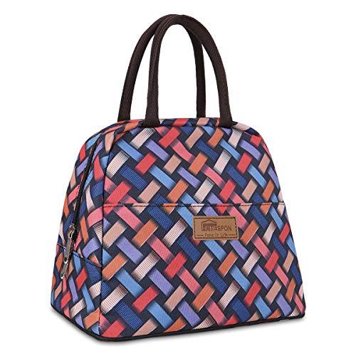 HOMESPON Bolsa Isotérmica de Almuerzo Lunch Bag Bolsa Térmica Porta Alimentos Tela Impermeable Plegable Bolso de Picnic para Mujeres, Adultos, Estudiantes y Niños (Estándar-Tejido)