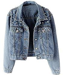 Kedera Women Oversized Denim Jacket Embroidered Pearls Beading Jeans Coat