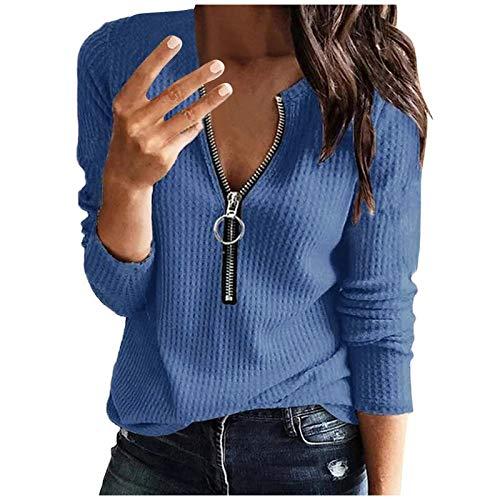 BIKETAFUWY Camiseta grande para mujer, elegante, de manga larga, con cremallera, cuello en V, de un solo color, con cremallera, azul, M