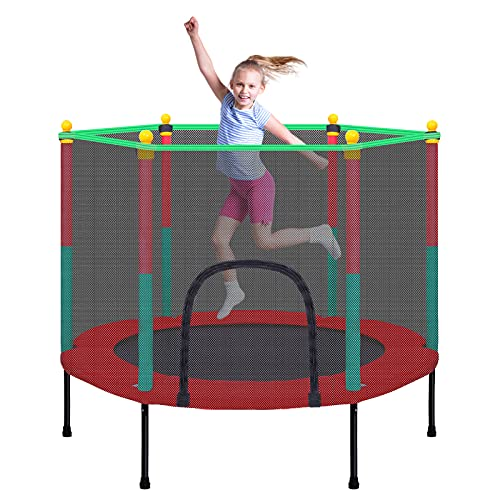 TOYMATE Kids Trampoline with Safety Enclosure Net - 5FT Trampoline for Toddlers Indoor and Outdoor - Parent-Child Interactive Game Fitness Trampoline Toy Gift for Boys and Girls Age 1-8