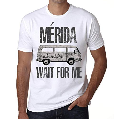 Hombre Camiseta Vintage T-Shirt Gráfico MÉRIDA Wait For Me Blanco