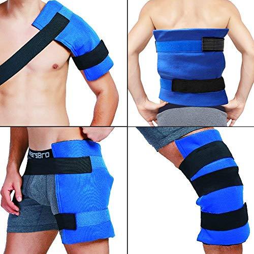 """Paquete y envoltura de hielo en gel flexible grande terapia de frío - calor para cadera, hombro, codo, espalda, rodilla - Gran alivio para esguinces, dolor muscular, contusiones, lesiones - 11""""x 14"""""""